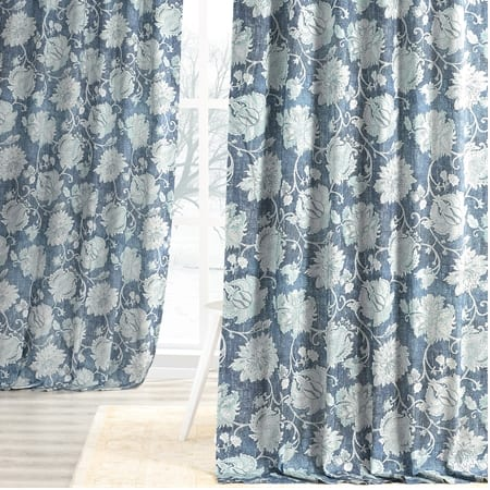 Dutton Blue Digital Printed Cotton Twill Curtain