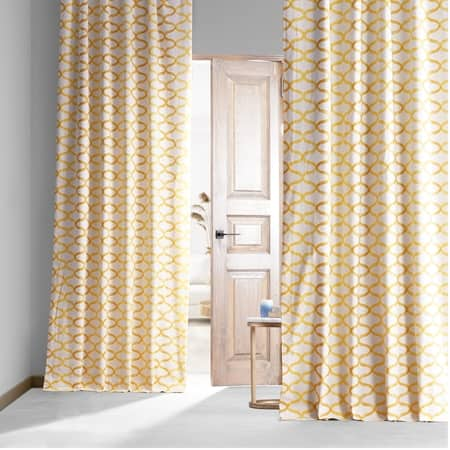 Illusions Yellow Printed Cotton Hotel Blackout Curtain