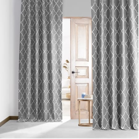 Aiden Gray Printed Cotton Hotel Blackout Curtain