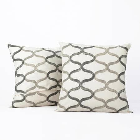 Illusions Silver Grey Printed Cotton Cushion Covers - PAIR