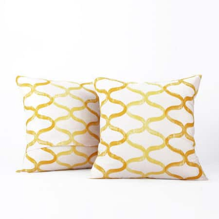 Illusions Yellow Printed Cotton Cushion Covers - PAIR
