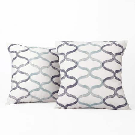 Illusions Aqua Blue Printed Cotton Cushion Covers - PAIR