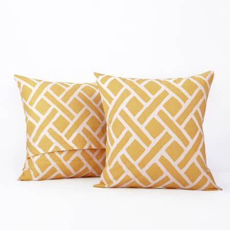 Martinique Yellow Printed Cotton Cushion Covers - PAIR