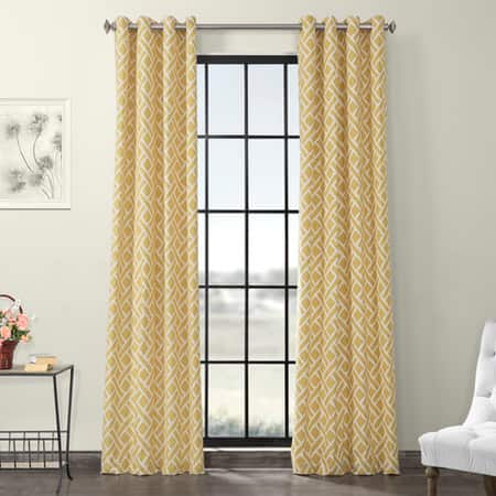 Martinique Yellow Grommet Printed Cotton Curtain