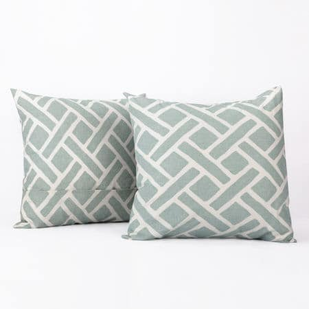 Martinique Aqua Printed Cotton Cushion Covers - PAIR