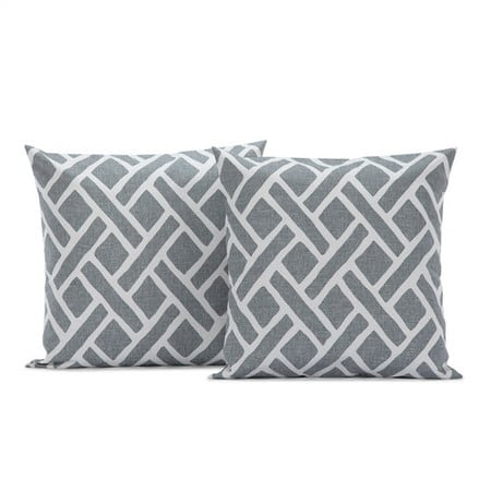 Martinique Grey  Printed Cotton Cushion Covers - PAIR