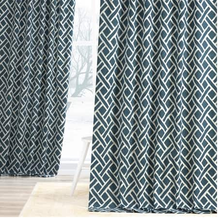 Martinique Blue Printed Cotton Curtain