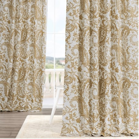 Edina Washed Mustard Printed Cotton Curtain