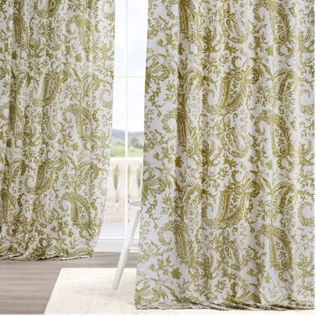 Edina Washed Green Printed Cotton Curtain