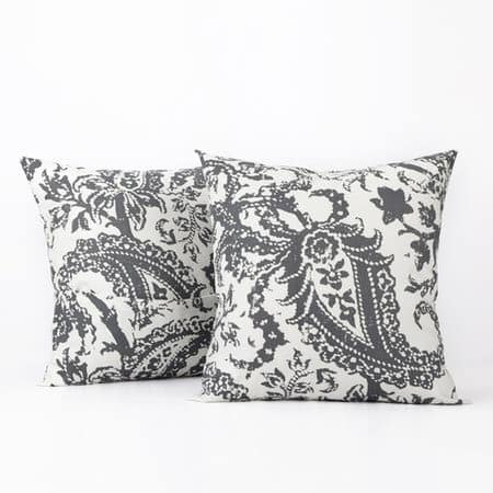 Edina Grey Printed Cotton Cushion Covers - PAIR