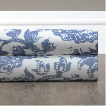Edina Washed Blue Printed Cotton Fabric