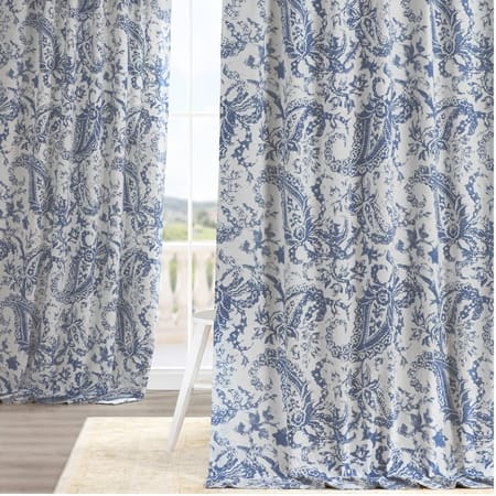 Edina Washed Blue Printed Cotton Curtain