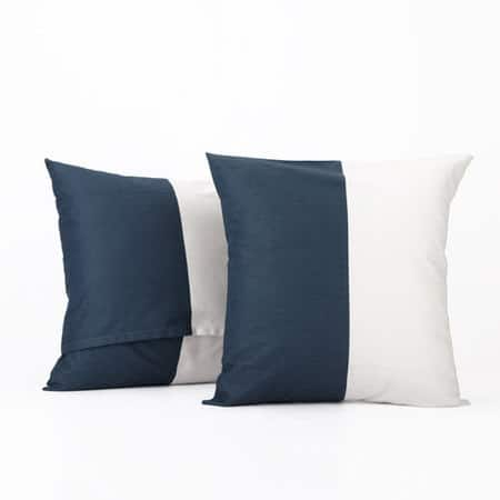 Dusk Blue & Off White Horizontal Stripe Cotton Cushion Covers - PAIR