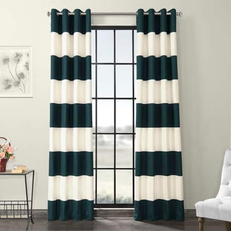 Dusk Blue & OffWhite Horizontal Grommet Stripe Cotton Curtain