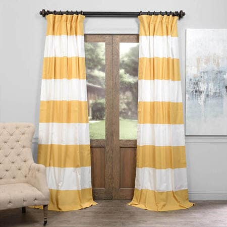 Quince Yellow & Off White Horizontal Stripe Curtain