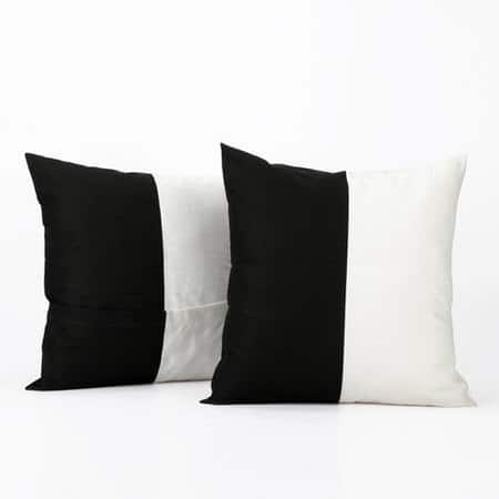 Onyx Black & Off White Horizontal Stripe Cotton Cover- PAIR
