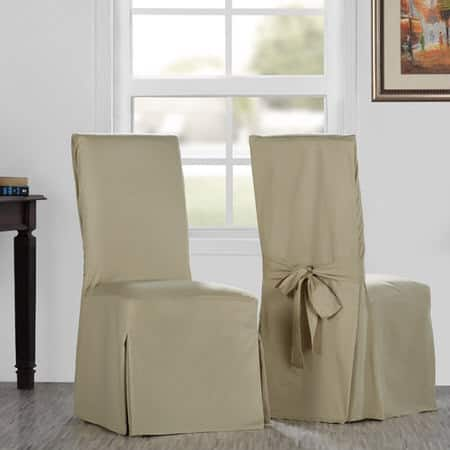 Shaker Beige Solid Cotton Twill Chair Covers