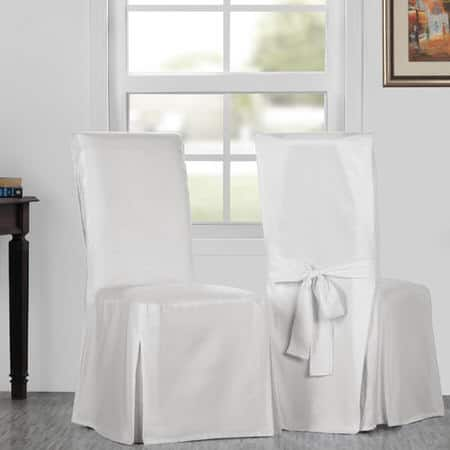 Whisper White Solid Cotton Twill Chair Covers