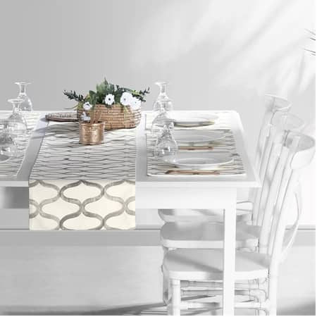 Illusions Silver Grey Printed Cotton Table Runner & Placemats