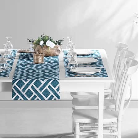 Martinique Blue Printed Cotton Table Runner & Placemats
