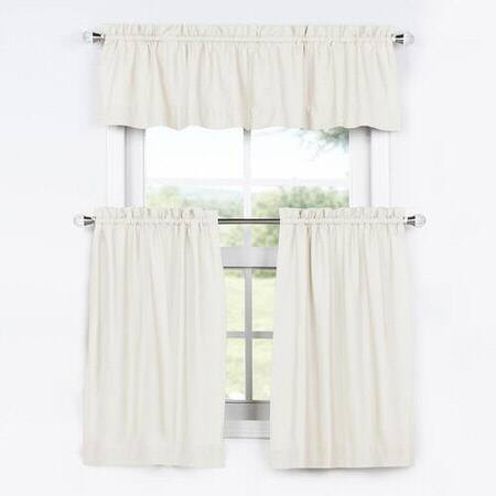 Fresh Popcorn Solid Cotton Kitchen Tier Curtain & Valance Set (3pc)