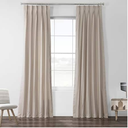 Hazelwood Beige Solid Cotton Pleated Curtain