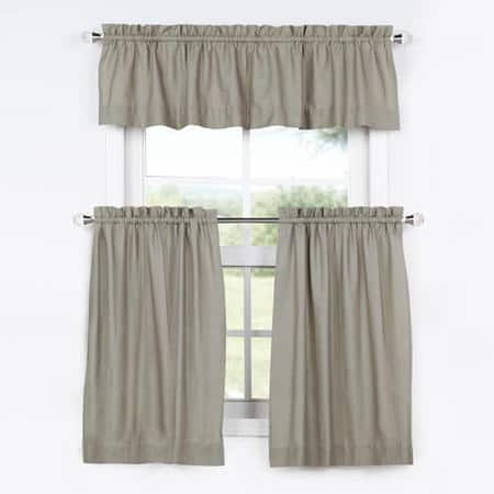 Millstone Gray Solid Cotton Kitchen Tier Curtain & Valance Set (3pc)