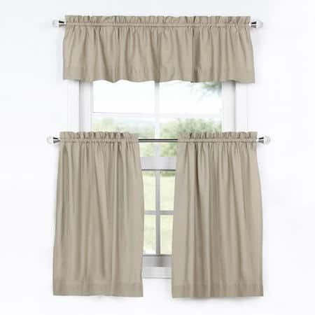 Sandstone Solid Cotton Kitchen Tier Curtain & Valance Set (3pc)