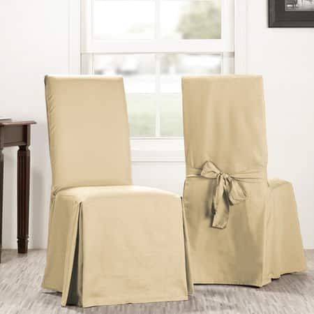 Shaker Beige Solid Cotton Chair Covers (Sold As Pair)