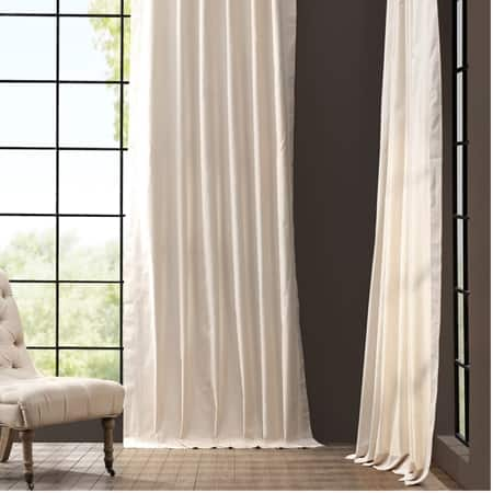 English Cream Solid Cotton Curtain