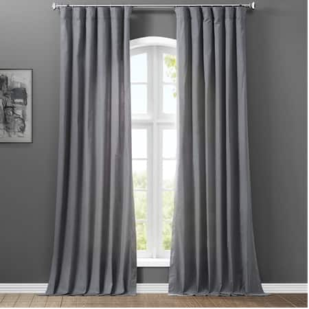 Business Gray Solid Cotton Curtain