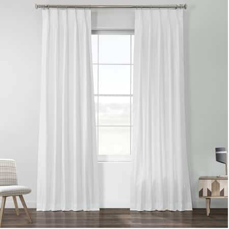 Whisper White Solid Cotton Pleated Curtain