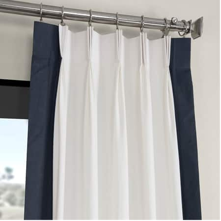 Fresh Popcorn and Polo Navy Pleated Vertical Colorblock Curtain