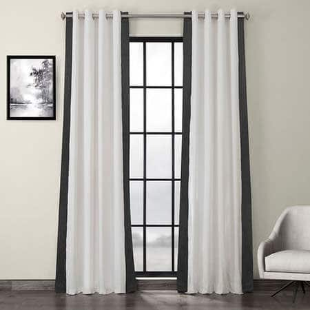 Fresh Popcorn and Millstone Grey Grommet Vertical Colorblock Curtain