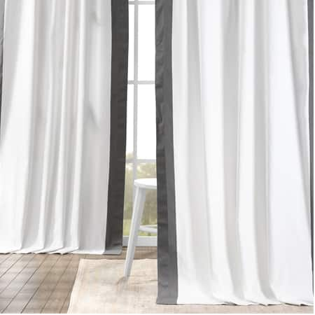 Fresh Popcorn and Millstone Grey Vertical Colorblock Panama Curtain