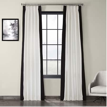 Fresh Popcorn and Black Pleated Vertical Colorblock Curtain
