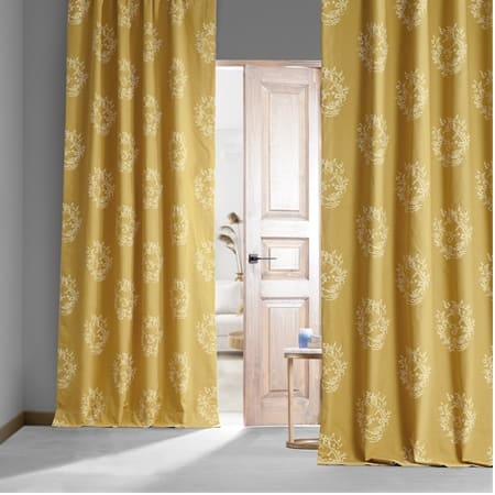 Isles Mustard Printed Cotton Hotel Blackout Curtain