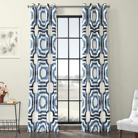 Mecca Blue Grommet Printed Cotton Curtain