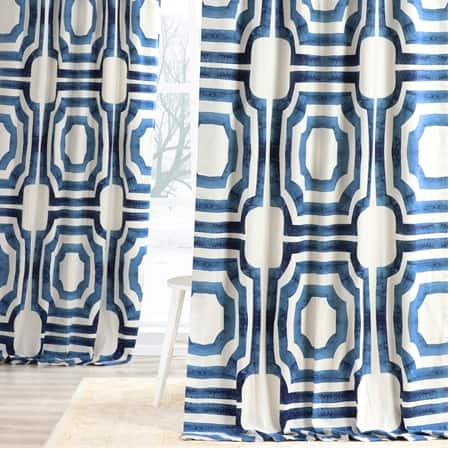 Mecca Blue Printed Cotton Curtain