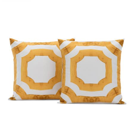 Mecca Gold Printed Cotton Cushion Cover- PAIR