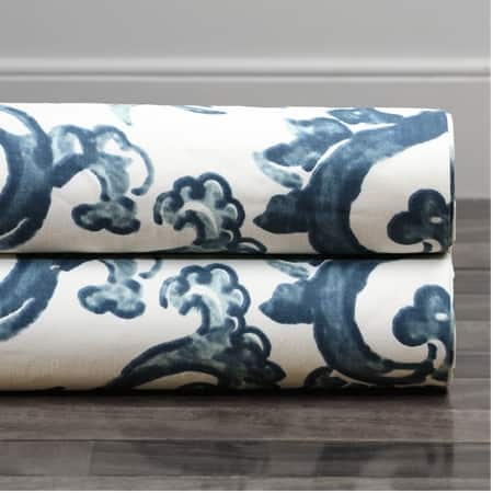 Indonesian Blue Printed Cotton Twill Fabric
