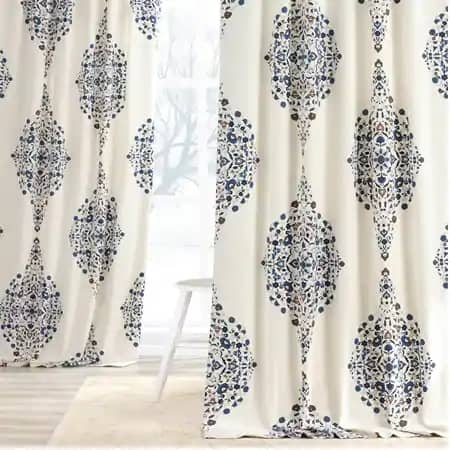Kerala Blue Printed Cotton Twill Curtain