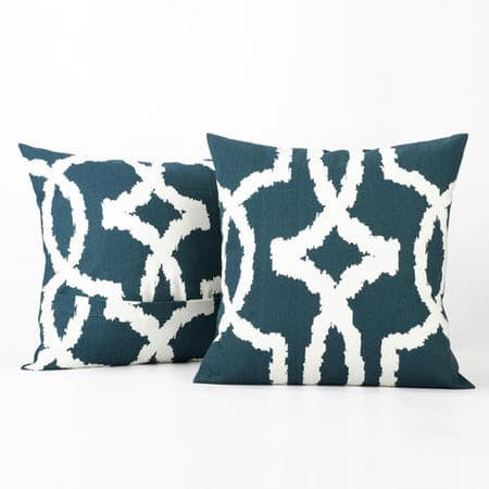 Lyons Blue Printed Cotton Cushion Covers - PAIR
