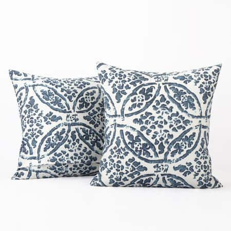 Catalina Blue Printed Cotton Cushion Covers - PAIR