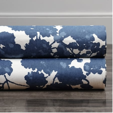 Fleur Blue Printed Cotton Twill Fabric