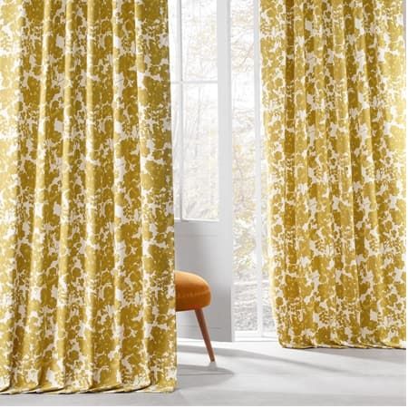 Fleur Gold Printed Cotton Twill Curtain