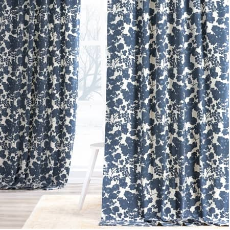 Fleur Blue Printed Cotton Twill Curtain