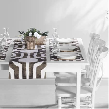 Mecca Brown Printed Cotton Table Runner & Placemats