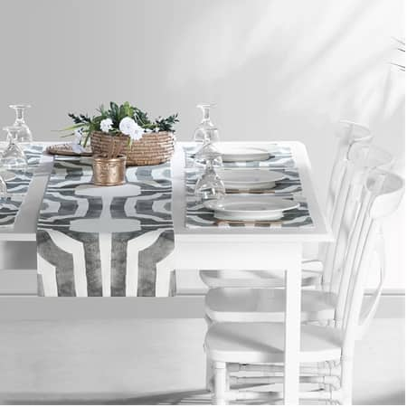 Mecca Steel Printed Cotton Table Runner & Placemats