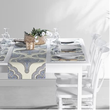 Arabesque Blue Printed Cotton Table Runner & Placemats
